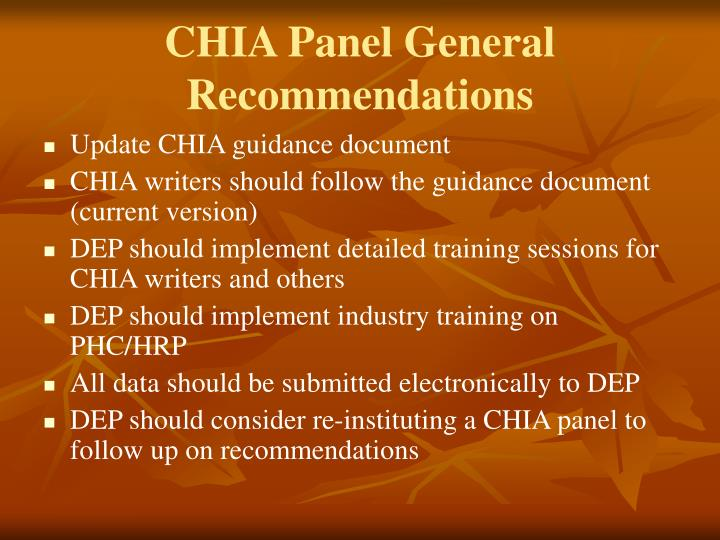 CHIA Panel General Recommendations
