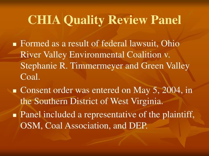 CHIA Quality Review Panel