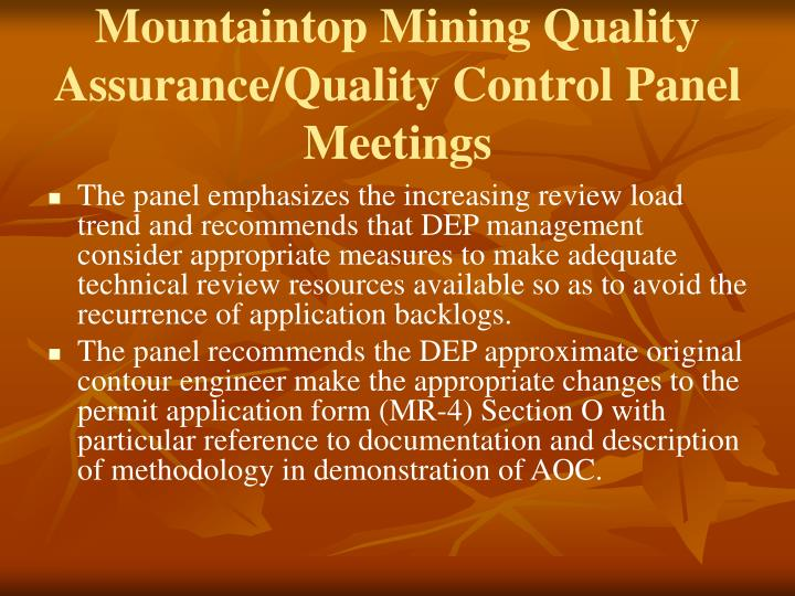 Mountaintop Mining Quality Assurance/Quality Control Panel Meetings