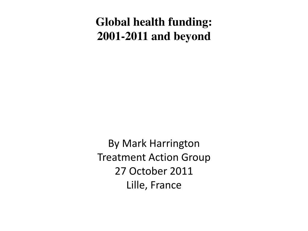 Global health funding: