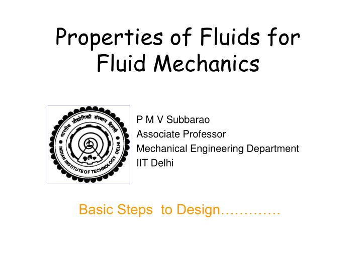 properties of fluids for fluid mechanics n.