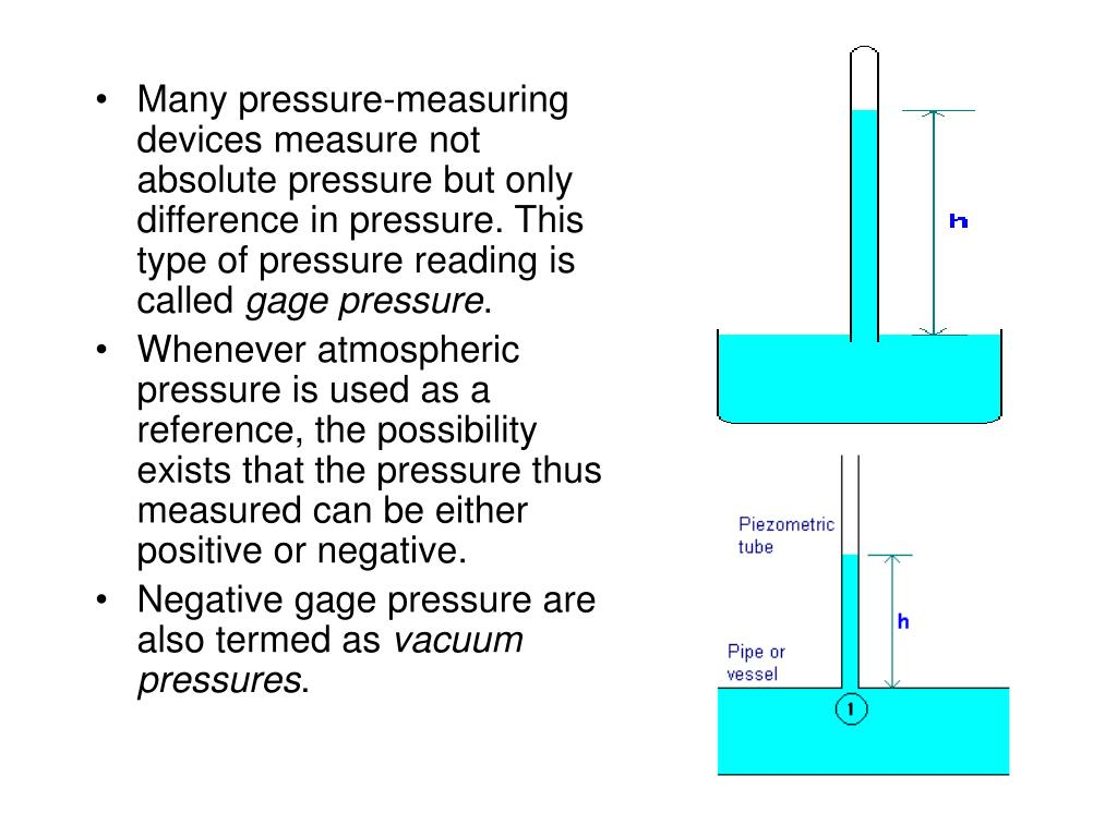 Many pressure-measuring devices measure not absolute pressure but only difference in pressure. This type of pressure reading is called