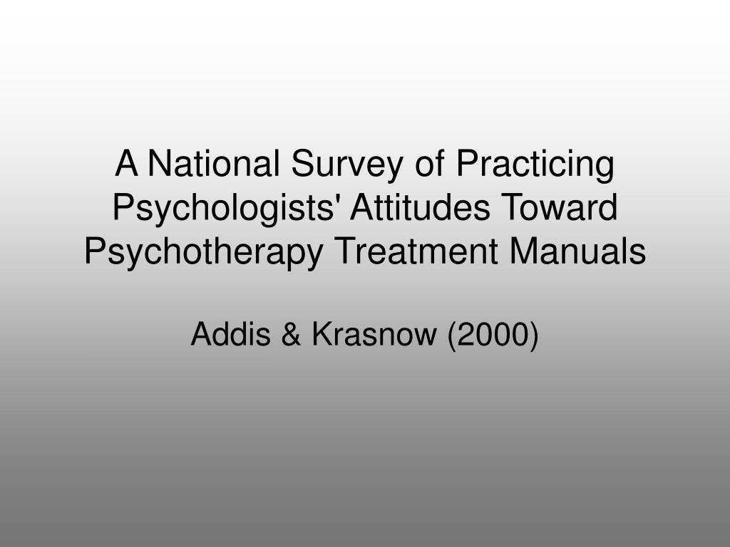 A National Survey of Practicing Psychologists' Attitudes Toward Psychotherapy Treatment Manuals