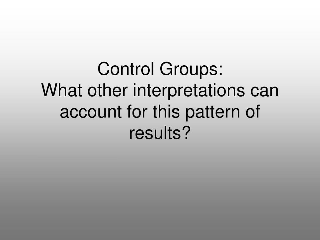 Control Groups: