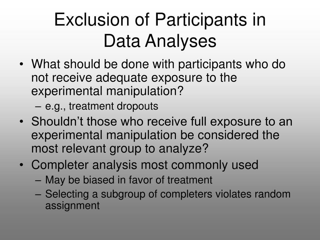 Exclusion of Participants in