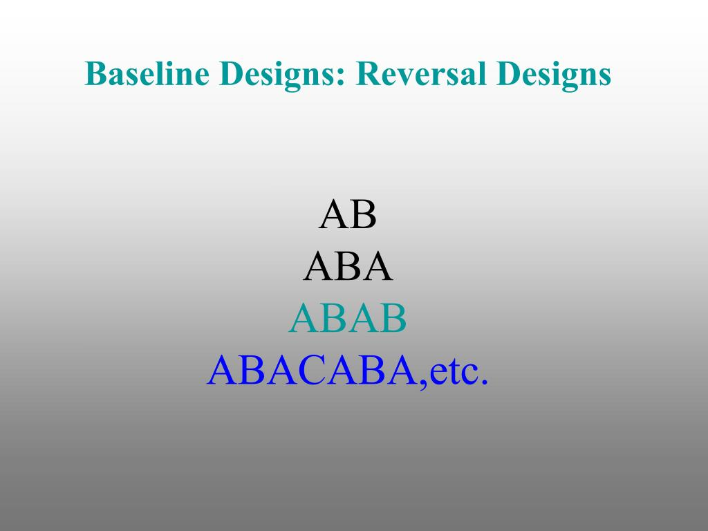 Baseline Designs: Reversal Designs