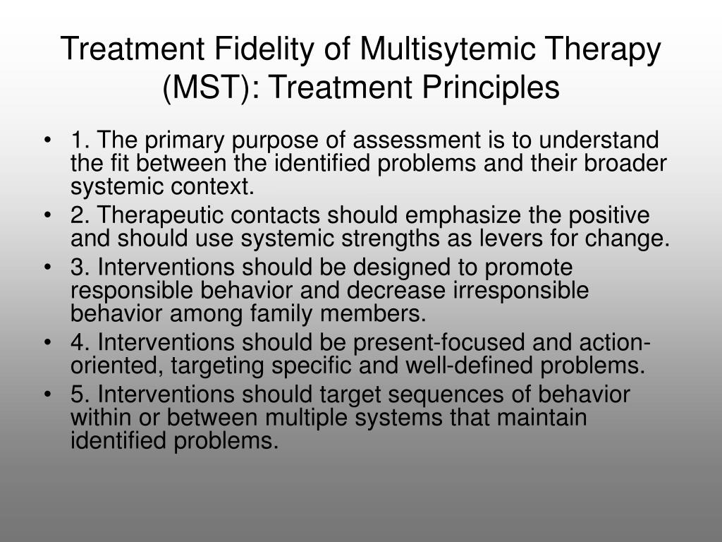 Treatment Fidelity of Multisytemic Therapy (MST): Treatment Principles