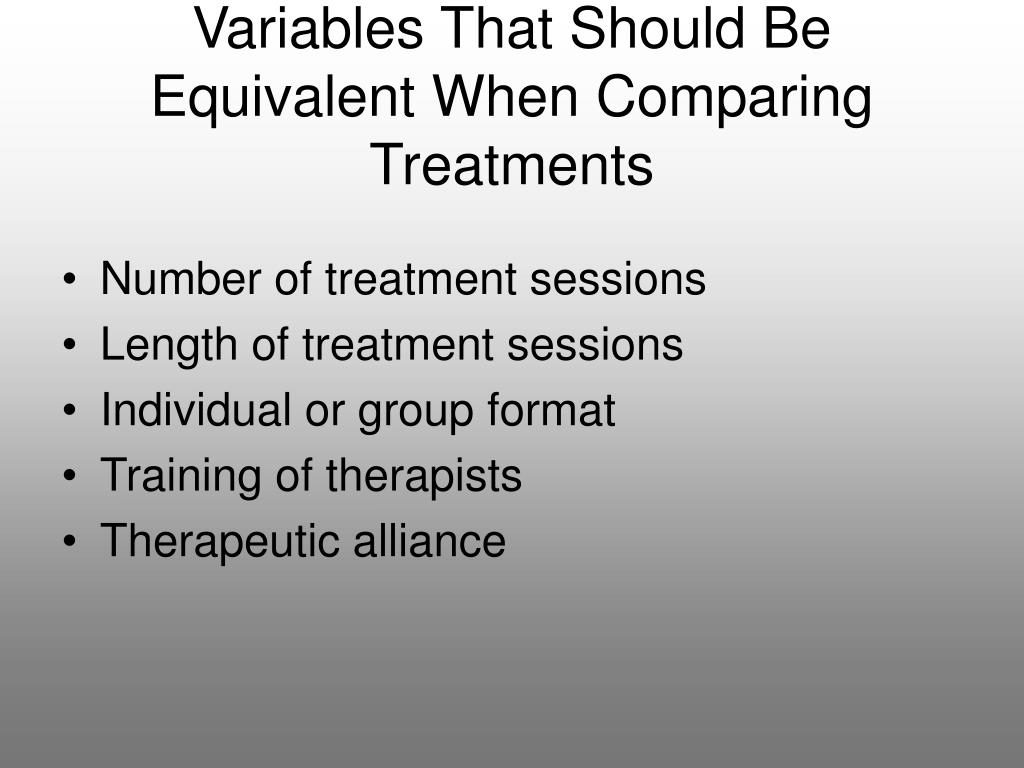 Variables That Should Be Equivalent When Comparing Treatments