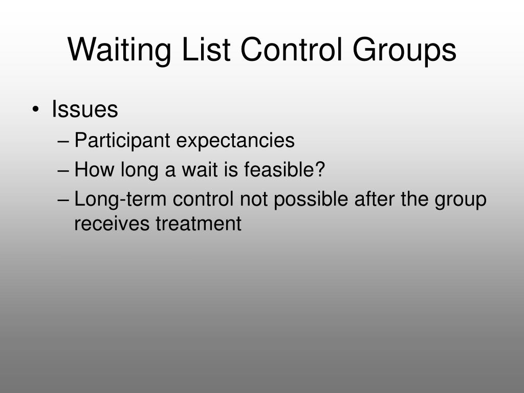 Waiting List Control Groups