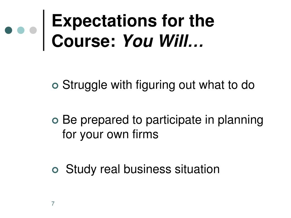 Expectations for the Course: