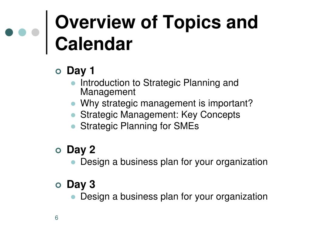 Overview of Topics and Calendar