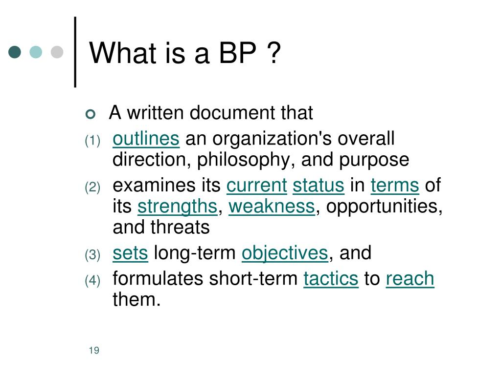 What is a BP ?