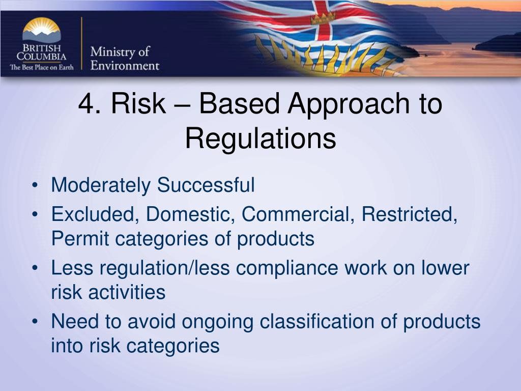 4. Risk – Based Approach to Regulations