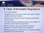 9 clear enforceable regulations