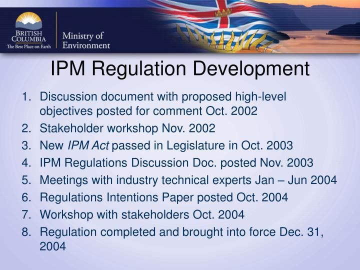 Ipm regulation development