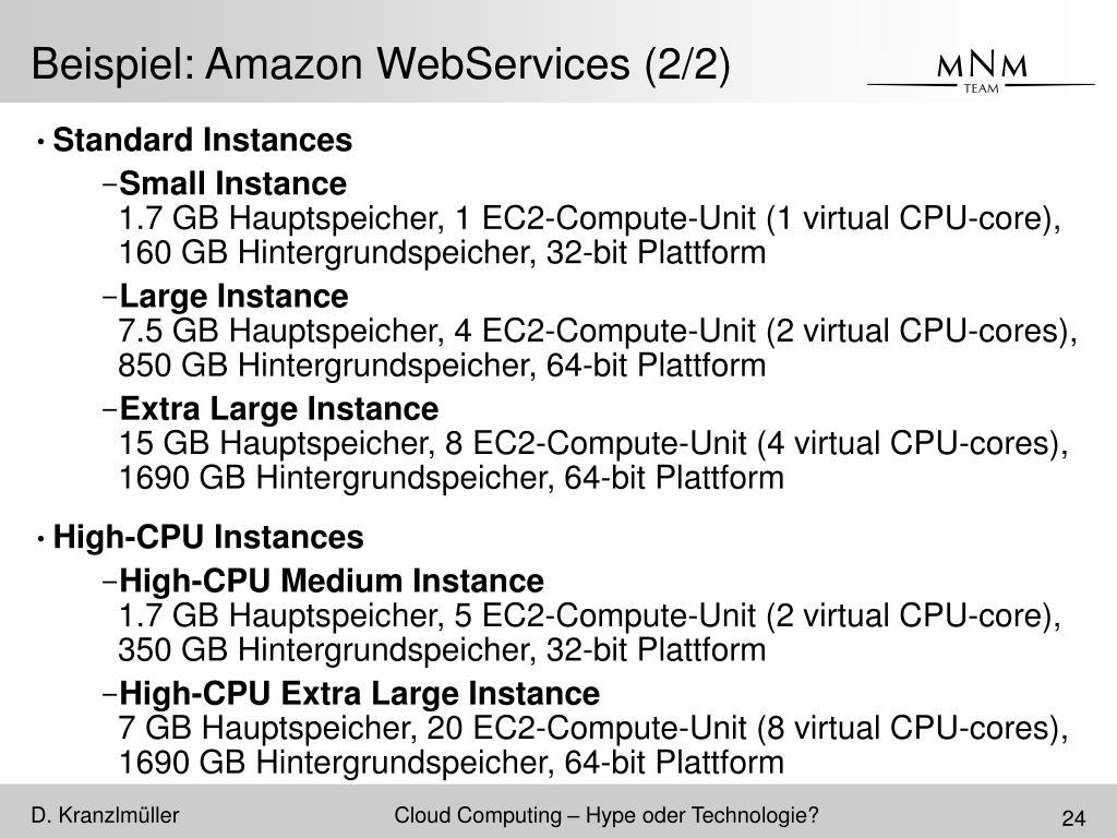 Beispiel: Amazon WebServices (2/2)