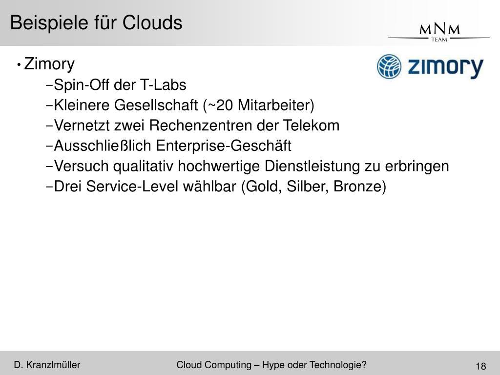 Beispiele für Clouds