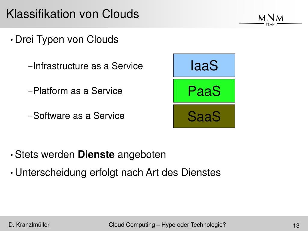 Klassifikation von Clouds