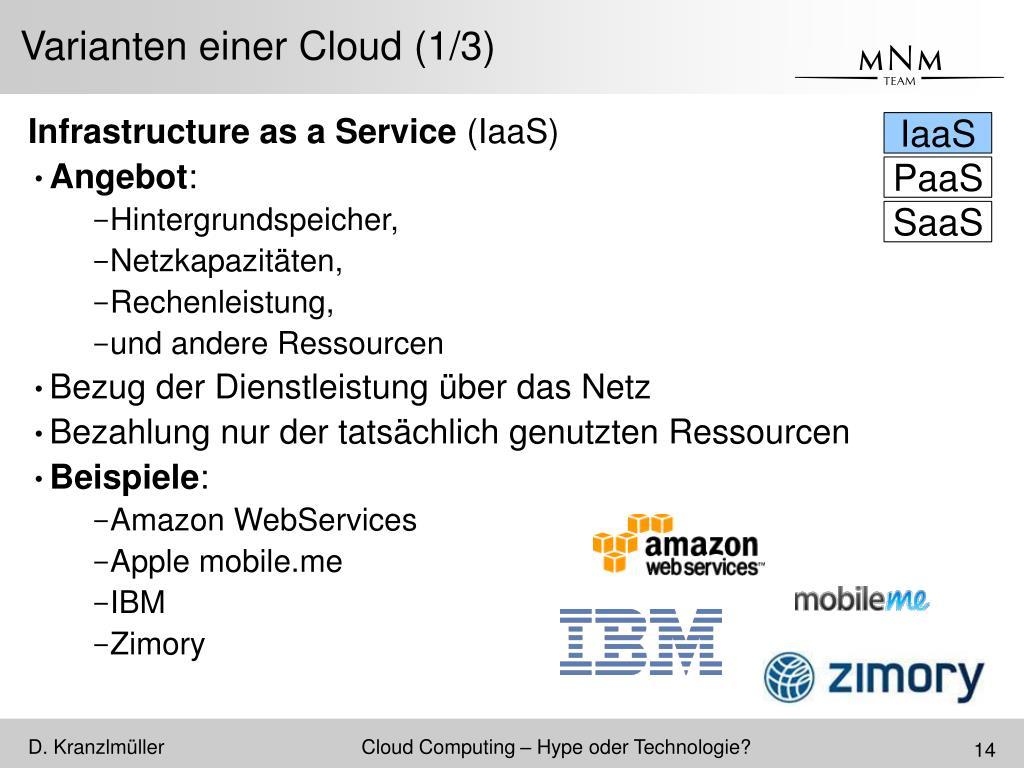 Varianten einer Cloud (1/3)