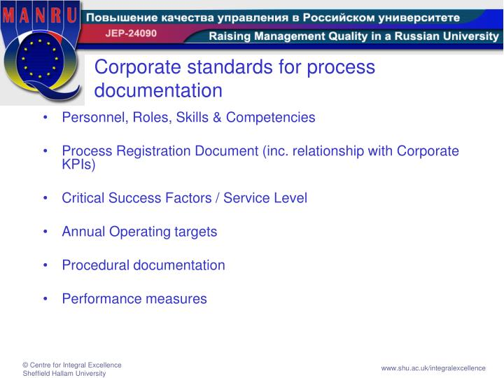 Corporate standards for process documentation