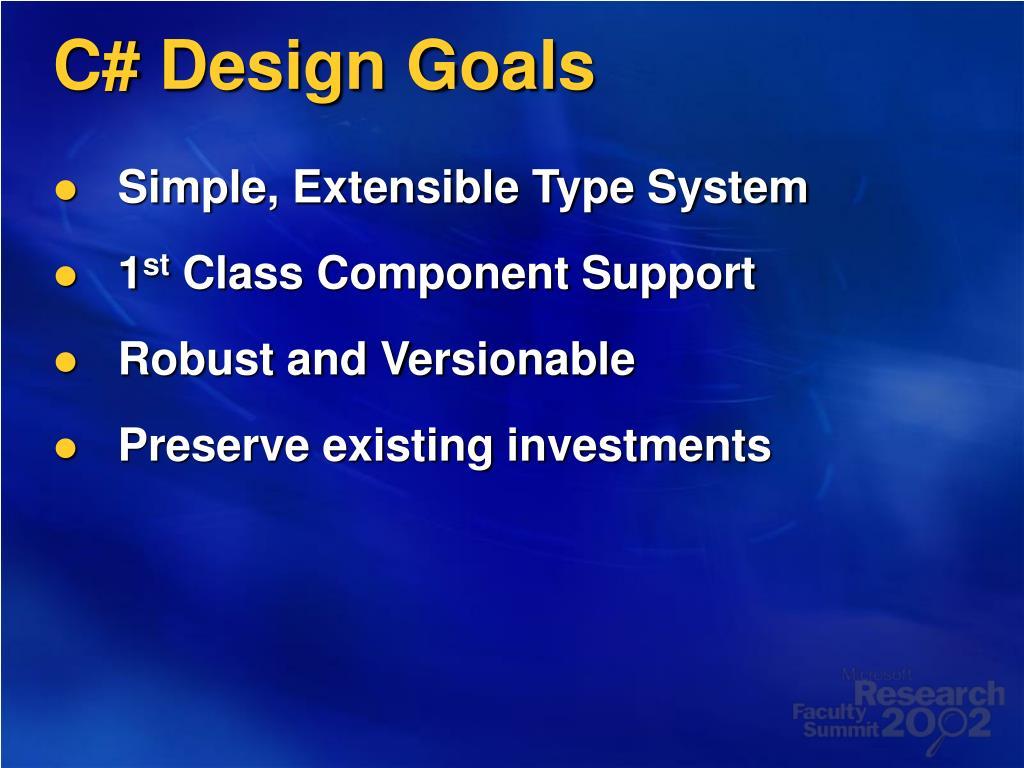 C# Design Goals