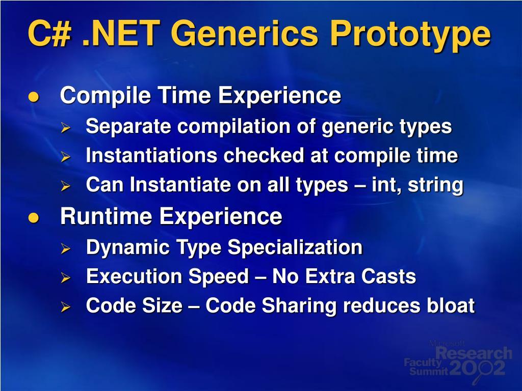 C# .NET Generics Prototype