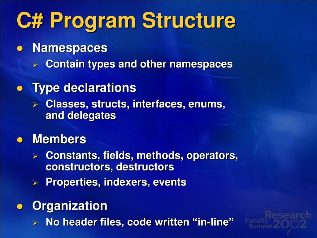 C# Program Structure