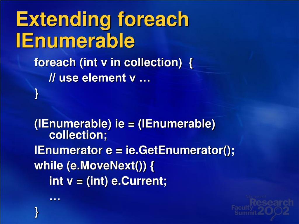 Extending foreach