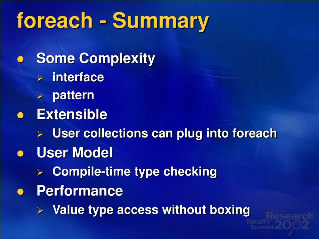 foreach - Summary