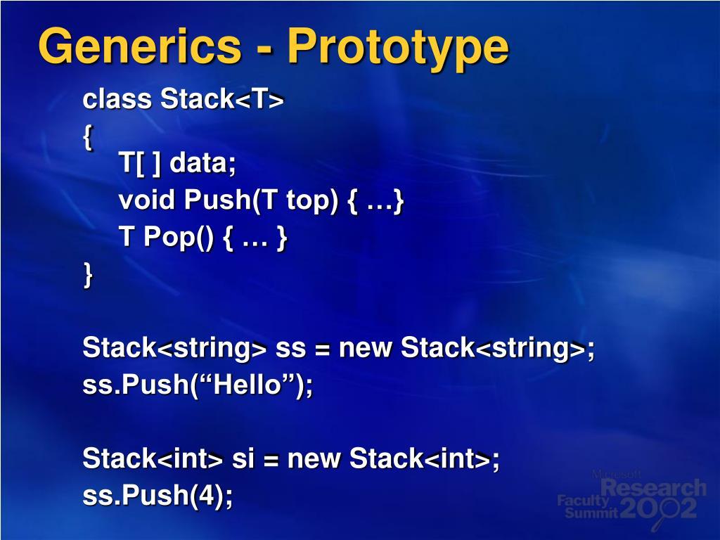 Generics - Prototype