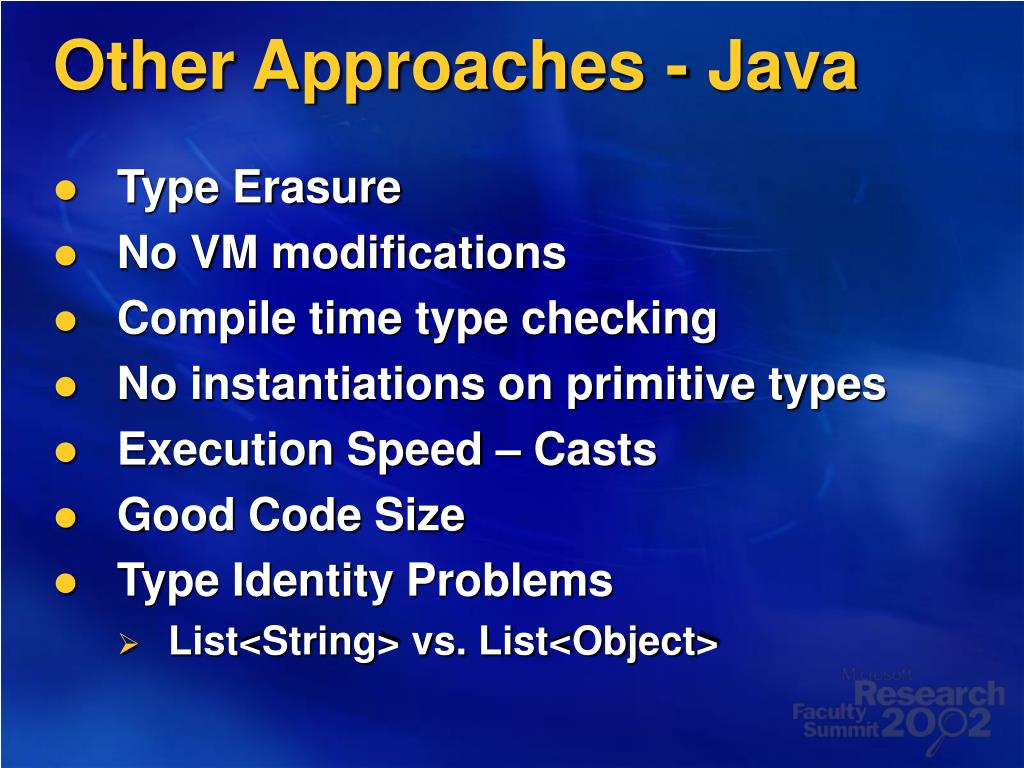 Other Approaches - Java