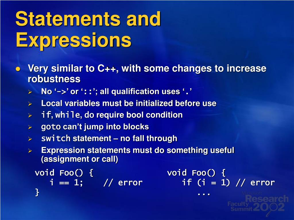 Statements and Expressions