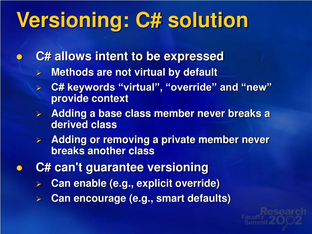 Versioning: C# solution