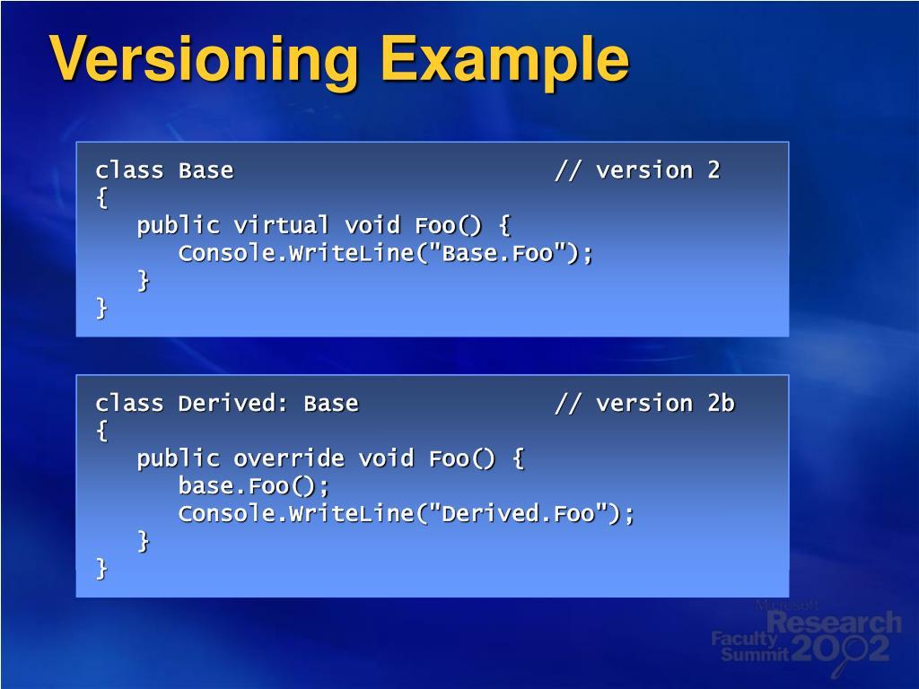 Versioning Example