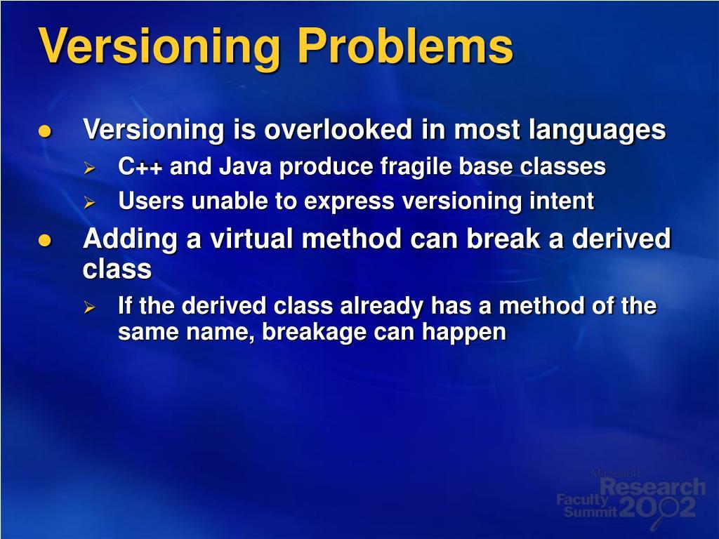 Versioning Problems