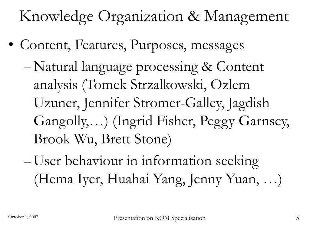 Knowledge Organization & Management