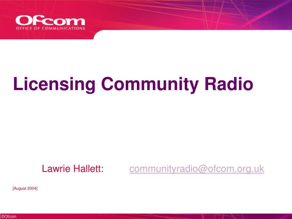 licensing community radio l.