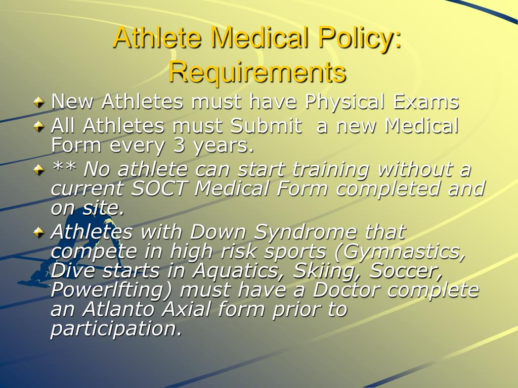 Athlete Medical Policy: Requirements