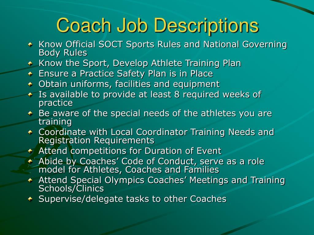Coach Job Descriptions