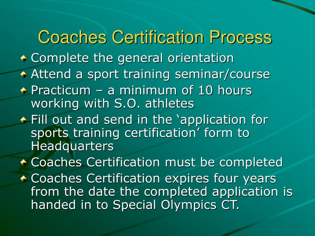 Coaches Certification Process
