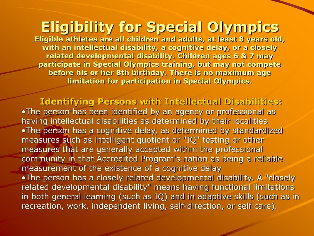 Eligibility for Special Olympics