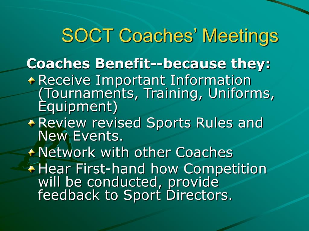 SOCT Coaches' Meetings
