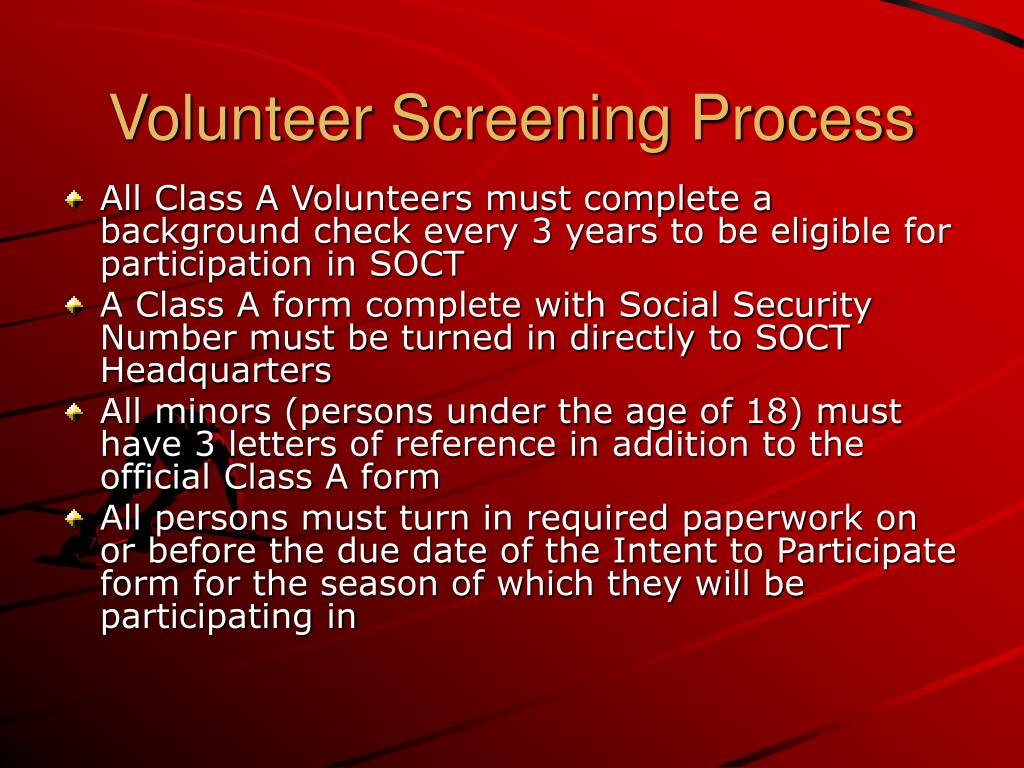 Volunteer Screening Process