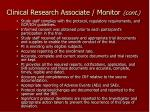clinical research associate monitor cont