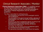 clinical research associate monitor
