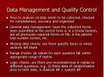 data management and quality control