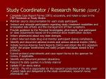 study coordinator research nurse cont