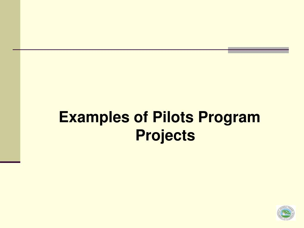 Examples of Pilots Program Projects