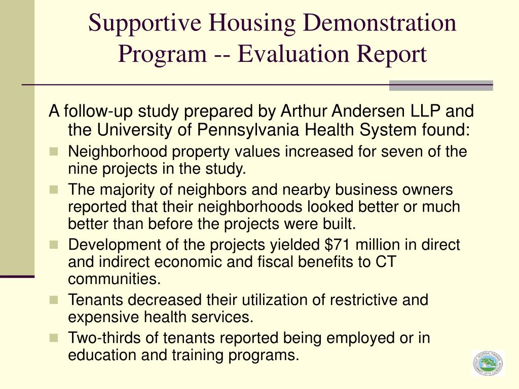 Supportive Housing Demonstration Program -- Evaluation Report