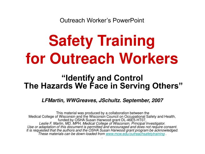 outreach worker s powerpoint safety training for outreach workers n.